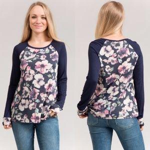 Tops - Floral print raglan sleeve top